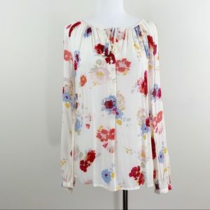 LUCKY BRAND Floral Boho Gypsy Tunic Blouse